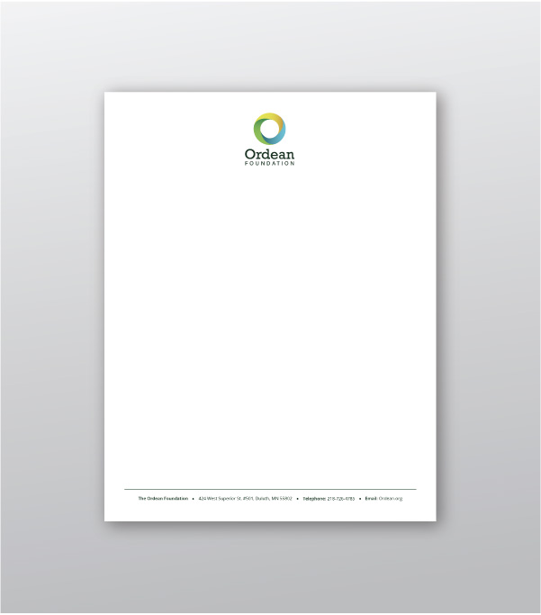 Ordean Foundation visual identity design - letterhead created by Šek Design Studio