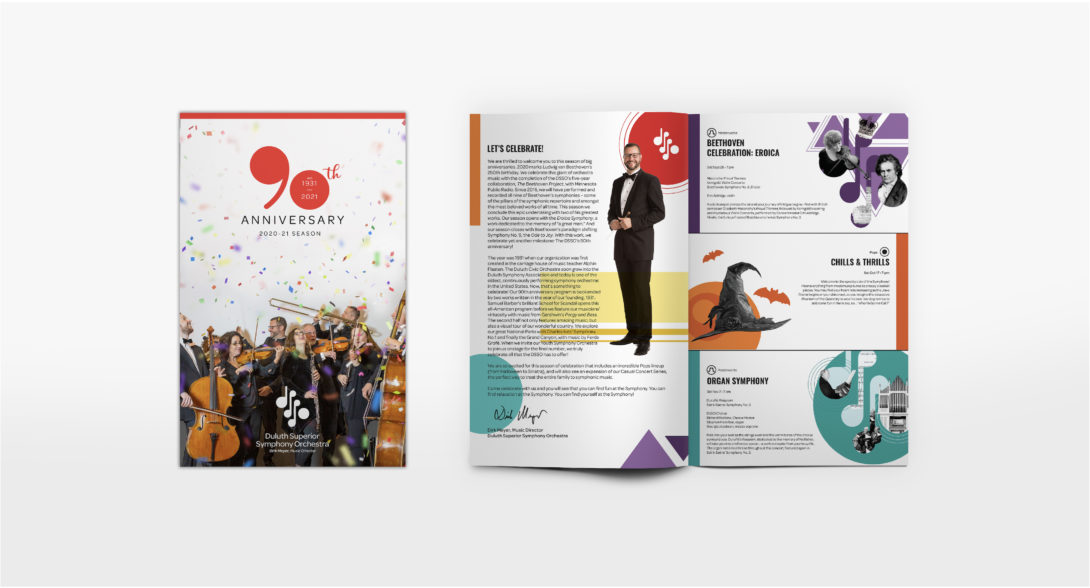 Duluth Superior Symphony Orchestra, brochure concert artwork designed by Šek Design Studio