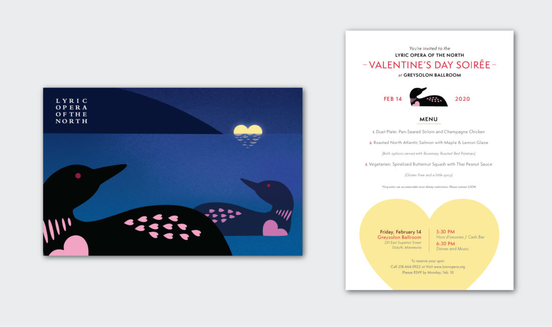 Lyric Opera of the North's Valentine's Days Soirée, invitations created by Šek Design Studio