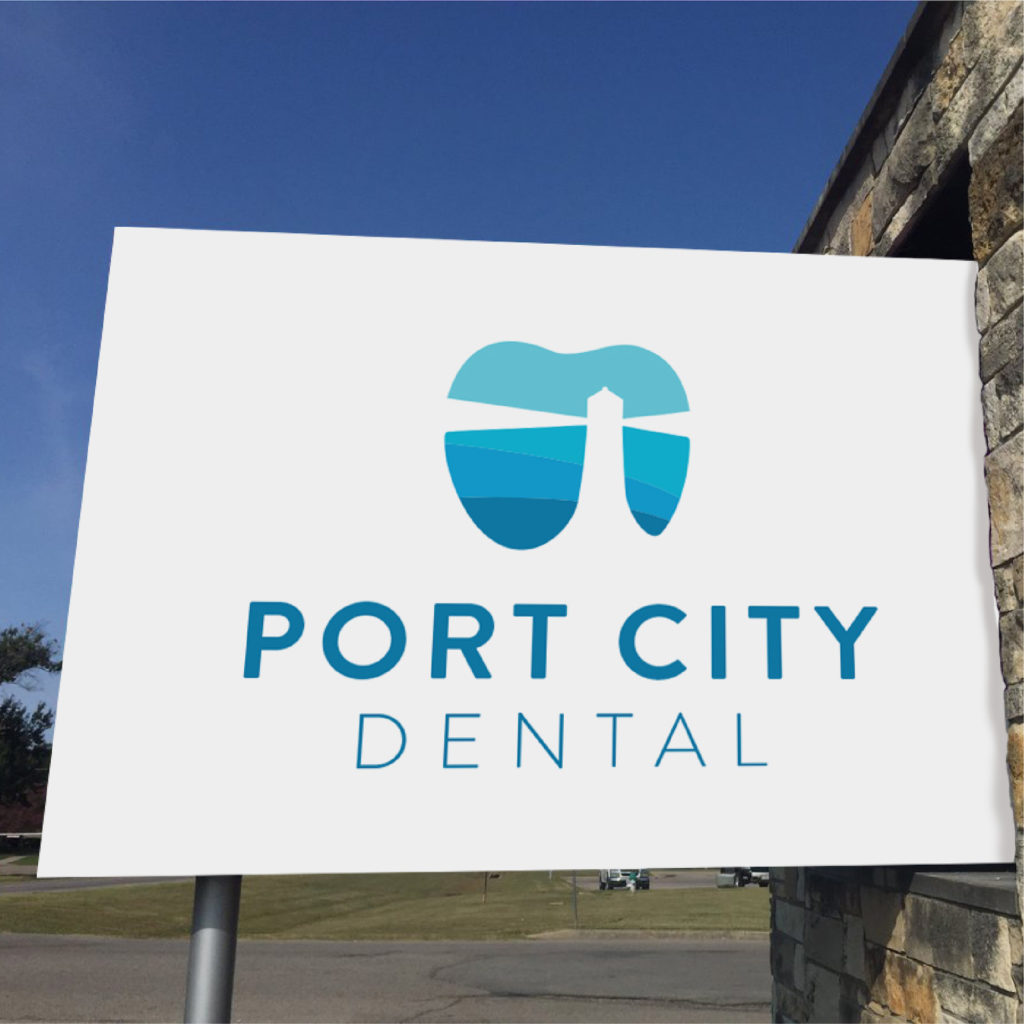 Port City Dental brand design, exterior signage created by Šek Design Studio
