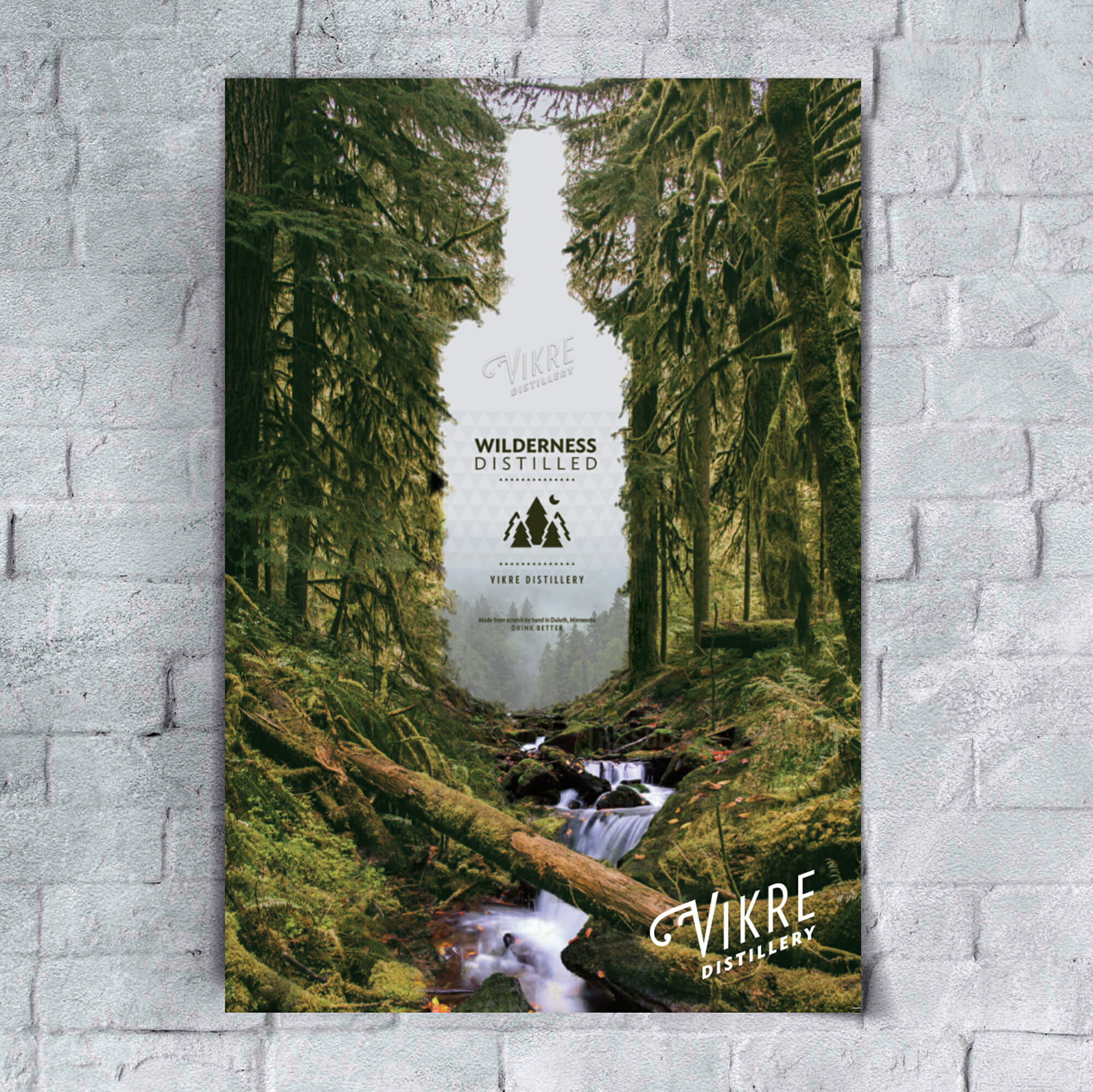Vikre Distillery wilderness distilled poster, design by Šek Design Studio
