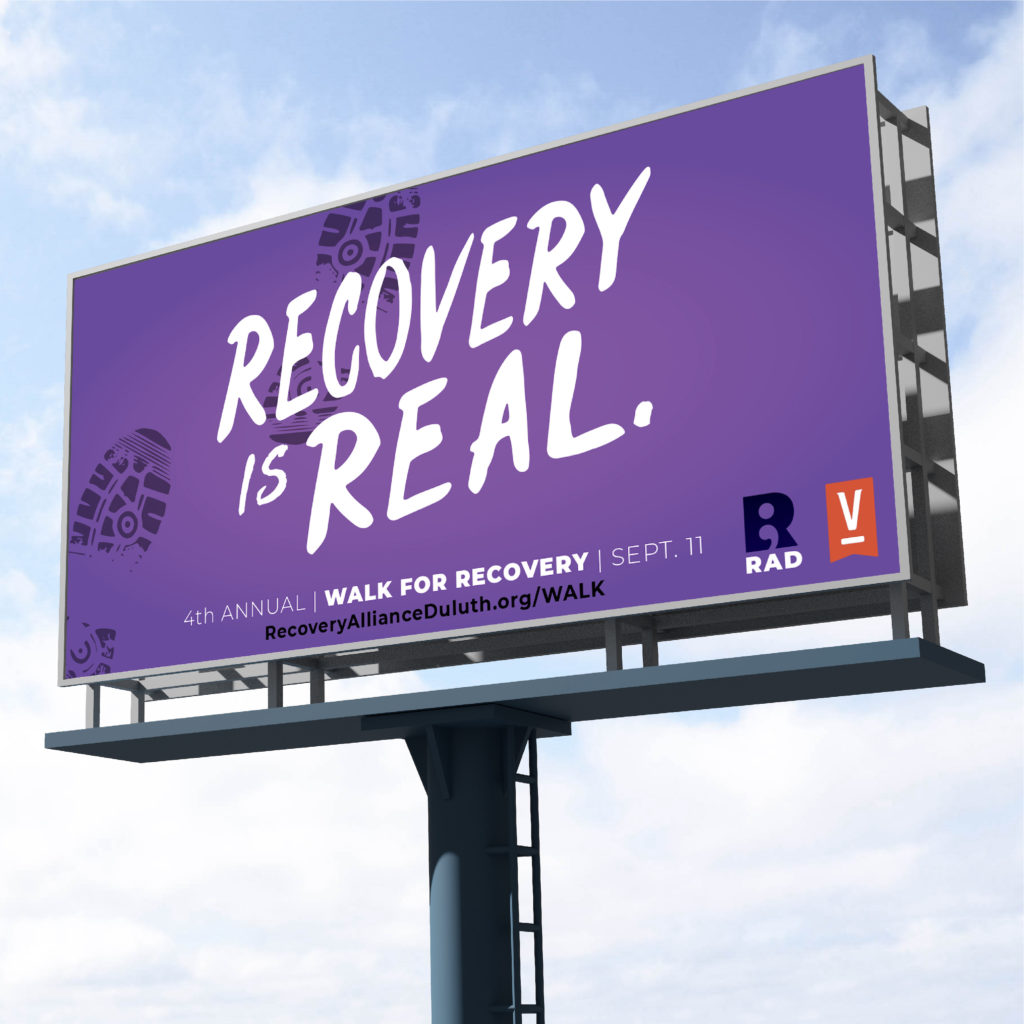 Recovery Alliance Duluth national recovery month billboard designed by Šek Design Studio